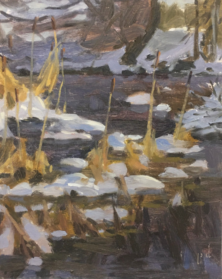 Snow And Pond Oil Painting Copyright 2021 By Peter Dickison