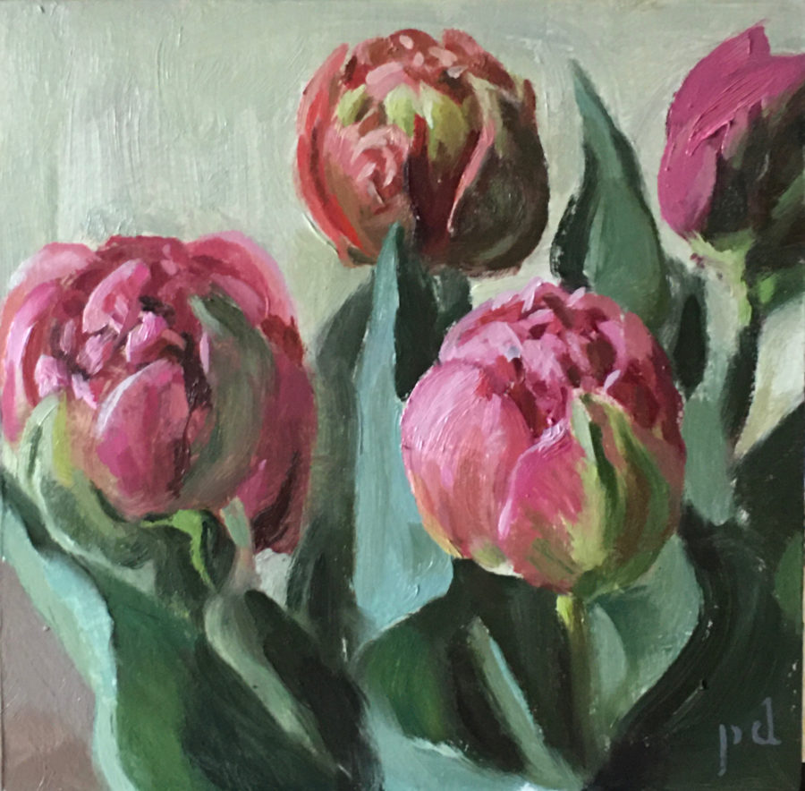 Tulips In Plumed Procession Oil Painting Copyright 2021 By Peter Dickison