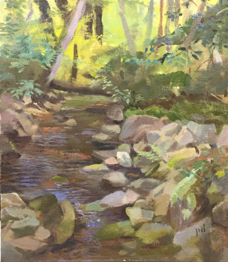 As Water Slips Downstream Oil Painting Copyright 2021 By Peter Dickison